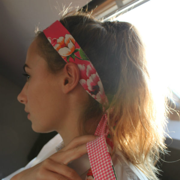 cadeau fille headband a coudre fleuri et vichy rose