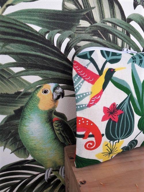 Pochette suzette et moi tissu imprimé jungle