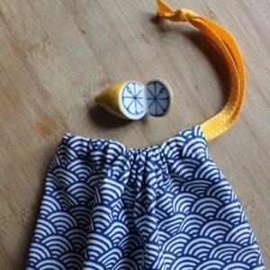 Kit couture – La vague Bleue- Sac lien coulissant