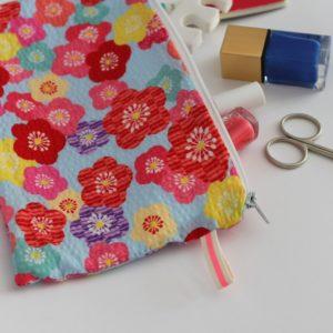 Kit couture – Fleurs de cerisier – Pochette zippée