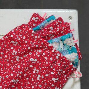 Kit couture – Fleurs dans mon jardin anglais, fuchsia – 5 lingettes démaquillantes