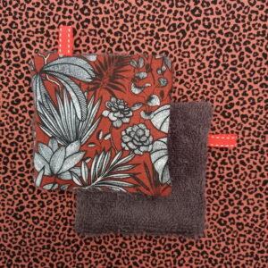Kit couture – Un fauve dans la forêt vierge, terracotta/marron glacé – 5 lingettes démaquillantes